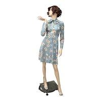 c1960s Speckled Blue & White Daisy Flower Secretary Mini Dress w/ Pussy Bow Neck Tie
