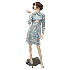 Boutique Hand-made Floral Daisy Teal Day Dress w/ Neck Tie