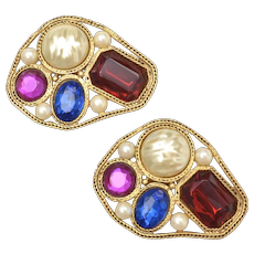 c1980s Bijoux Terner Huge Heavy Simulated Gems & Faux White Pearls Goldtone Clip Earrings