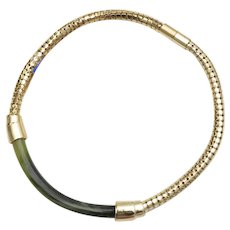 c1970s Whiting & Davis Simulated Jade Green Lucite Snake Chain Choker Necklace w/ Original Tag