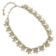 c1950s Coro Signed Figural Leaf Goldtone Choker Necklace