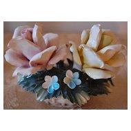Circa 1950-70s Vintage Italian Capodimonte Rose Sculpture