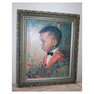 1970 Black Boy Huge Framed Print ~ Signed M. Runci