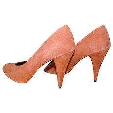 Gorgeous Charles Jourdan Copper Brown Suede Heels