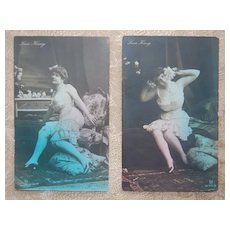 c1900s Lucie Konig Germany - Set of 2 Model in Risque Undergarments / Lingerie Postcards