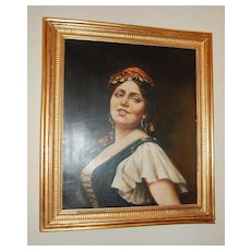 1900s Italian Gypsy Oil Painting in Original Gilt Frame