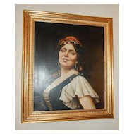c1900s Italian Gypsy Lady Oil on Wood Painting in Original Gilt Frame