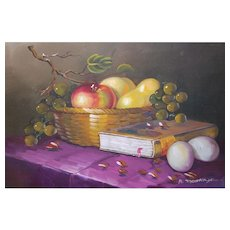 Signed A. Montoya Large Still Life Bowl of Fruit Original Oil Painting