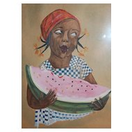 Circa 1931 Artist Signed 'Little Black Girl Eating Watermelon' Naive Watercolor Painting in Original Wood Frame