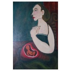 Haunting Surrealist Mother w/ Fetus Oil Painting
