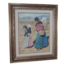 """1960s """"To Market"""" Mexican Mother w/ Children Oil Painting"""