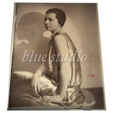 c1911 Signed Arhen-Brenner Belle Epoque Flapper Lady Portrait 8 x 10 B & W Shadow Photograph / Art Photography