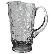 Large Hand Blown Heavy Textured Glass Pitcher