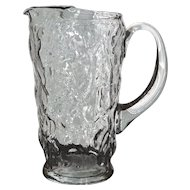 Morgantown Clear Crinkle Glass Large Hand Blown Pitcher w/ Ice Lip