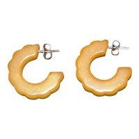 Petite Carved Butterscotch Bakelite Earrings