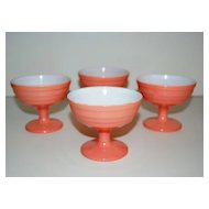 Hazel Atlas Glass ~ Moderntone Pink Platonite Sherbets ~ Set of 4