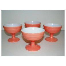 Hazel Atlas Glass ~ Moderntone Pink Platonite Sherbets ~ Set of 4