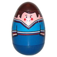 1970s Weebles ~ Man w/ Blue Shirt Peelable Weeble