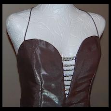 Jessica McClintock ~ Silver Rhinestone Evening Gown ~ Size 6
