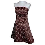 Jessica McClintock Gunne Sax Chocolate Brown & Pink Polka Dot Dress