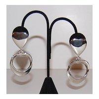 1980s Bold Polished Silvertone Heart Dangle Earrings