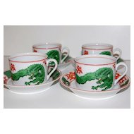 1975 Fitz and Floyd Dragon Crest Cup & Saucer Set ~ Set of 4