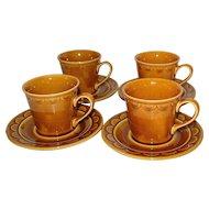 1970s Homer Laughlin Golden Harvest Set of 4 Cups w/ Matching Saucers