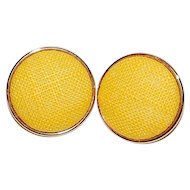 Large Sunny Yellow Fabric Pierced Earrings
