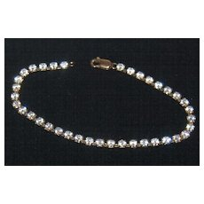 "Vintage 7"" Clear Rhinestone Bracelet w/ Lobster Clasp"
