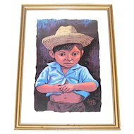 1973 Luis Cajiga Little Boy in Straw Hat Serigraph Framed Art Print