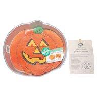 Circa 1981 Wilton Halloween Jack-O-Lantern Pumpkin Aluminum Cake Pan w/ Paper Instructions