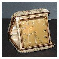 1950/60s Semca ~ Travel Alarm Clock w/ Brocade Case