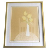 Titled 'Sunday Afternoon' by Artist Perkinson Yellow Tulip Flowers in Vase Signed/Numbered Framed Art Print