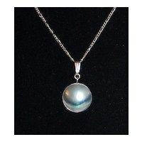 1950s Blister Pearl Pendant Sterling 925 Necklace