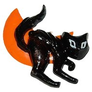 1960/70s Halloween Scary Black Cat Cake Topper