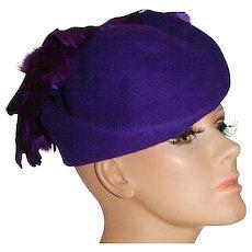 Michael Howard ~ Purple Wool & Feather Hat
