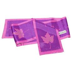 "Nasharr Freres 40"" Long Purple & Fuchsia Pink Leaf Scarf"
