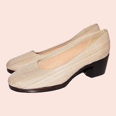1970s Browsabouts ~ Woven Fabric Wood Platform Shoes