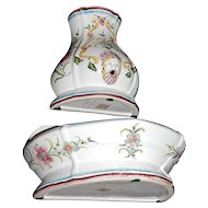 Signed Nora Fenton 2-Pc Hand-Painted Greek Inspired Figural Urn White Floral Ceramic Pottery Wall Fountain
