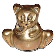 Heavy Brass Modernist Style Kitty Cat Figural Paperweight Desk Accessory