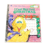 "Copyright 1991 Sesame Street ""I Can't Wait Until Christmas"" Little Golden Book Hardcover Children's Book"