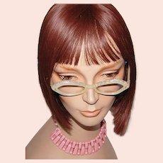1960s French Pearly White Lucite & Aurora Borealis Rhinestone Eyeglasses w/ Case