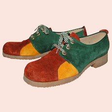 Circa 1960s Jumping Jacks Colorblock Forest Green, Sienna Brown & Mustard Gold Suede Leather Shoes