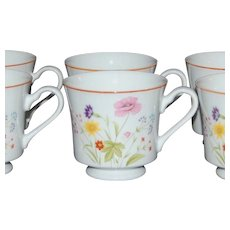Set of 4 Mikasa Stratford Summer Melody Porcelain Cups ~ 2 Sets Available