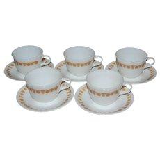 Pyrex / Corelle Butterfly Gold 10-Pc Milk Glass Cup & Saucer Set