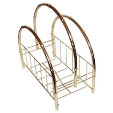 Hollywood Regency Faux Bamboo Goldtone Magazine Stand