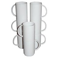 Vintage 8-Pc White Melamine Stackable Mug Set