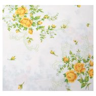 1960/70s Statepride ~ Sweet Yellow Rose Twin Fitted Sheet