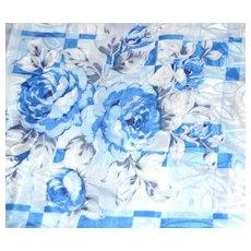 "Blue Rose Damask Polyester Fabric ~ 36 x 45"" Bolt"