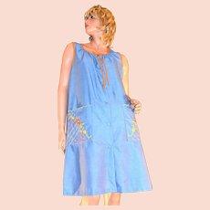 1970s Embroidered Blue Denim-Style Orange Trim Duster Dress